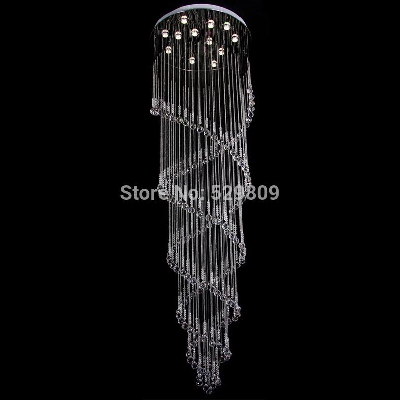 Grátis frete new modern candelabro de cristal duplo espiral projeto brilho led de cristal luz 12-lights longa escada iluminação(China (Mainland))