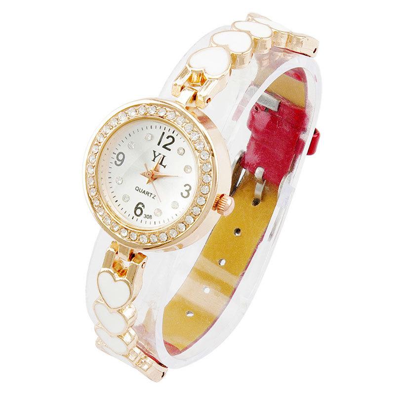 Women Dress Watch Ladies Luxury Bracelet Quartz Watch Female Diamond Reloj Wristwatches Love Heart Leather Band(China (Mainland))