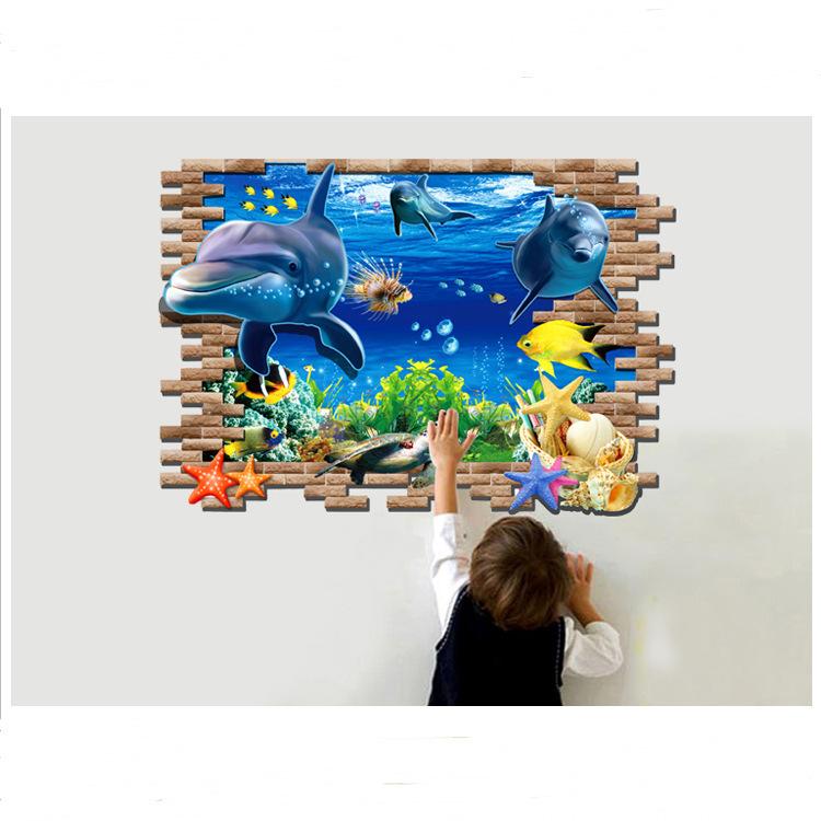 2015 3D Matt Dolphin Wall Stickers PVC Removable Wall Sticker Decors Art DIY Decorations(China (Mainland))