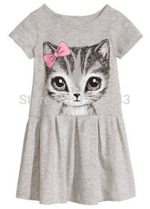 2015 New Arrival summer girl dress cat print grey baby girl dress children clothing children dress 2-7years(China (Mainland))