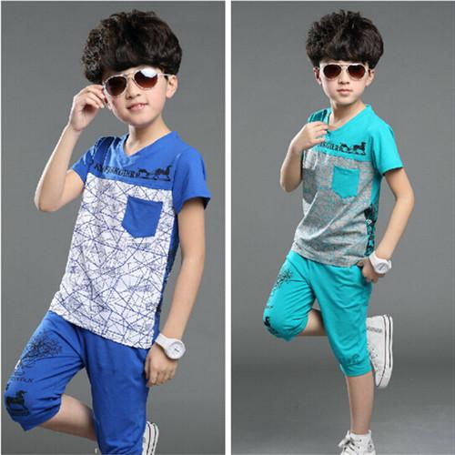 New 2015 Summer T shirt + Pant Short Sleeve Leisure Boys Sets Suit Children Printed Fashion Kids Patchwork Set Harem Pants set(China (Mainland))