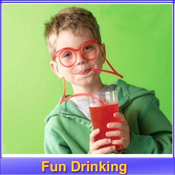 1 компл. сумасшедший соломы элементы новизны нескольких цветов удовольствия питьевой уникальные гибкие новый мягкие очки смешные очки питьевой трубки