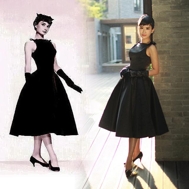 ウェディングドレス ウェディングドレス レトロ : Audrey Hepburn Little Black Dress Party