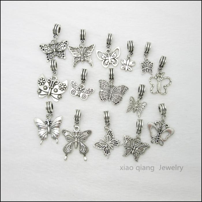 Free shipping 15pcs Butterfly Tibetan silver Bead Charm big hole pendant fit Pandora charm bracelet DIY