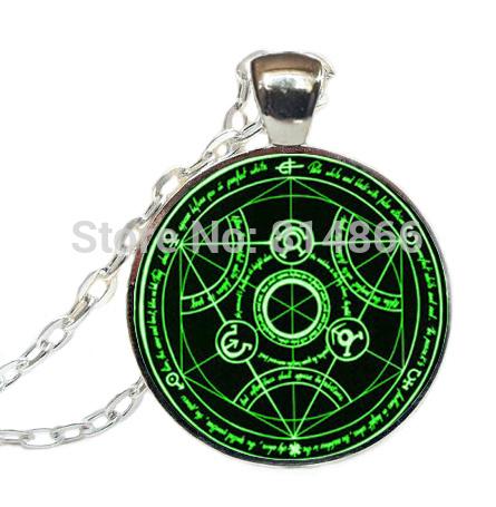 (BUY 3 GET 1 FREE )Green Circle Necklace Full Metal Green Alchemist pendant handmade Green Alchemist pendant(China (Mainland))