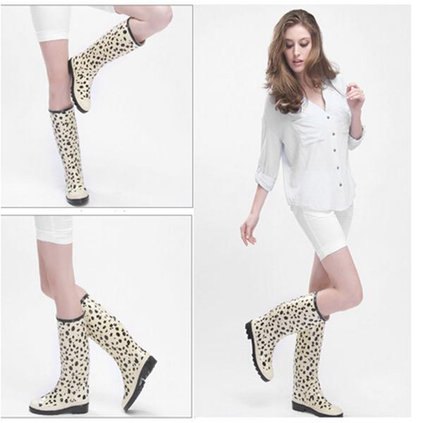 women high leopard square heel round toe rubber rain boots(China (Mainland))