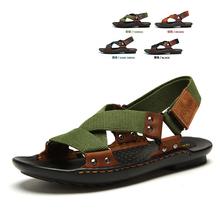 2015 Best-selling Classic Design Men Sandals Hemp+ Genuine Leather Beach sandals Men Slippers Men Summer Outdoor shoes (China (Mainland))