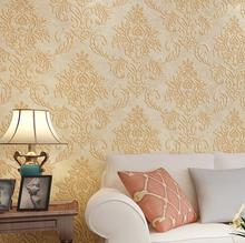 European Damascus stereoscopic 3D embossed wallpaper flocking nonwoven wallpaper living room bedroom TV backdrop(China (Mainland))