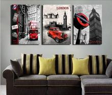 3 peças/set venda quente moderna da parede pintura London city cenário Art Home decorativa imagem pintura em tela impressões(China (Mainland))