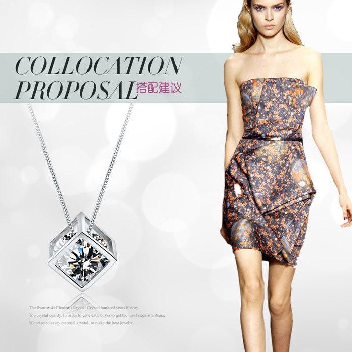 Hot Selling Silver Square Love Magic Cube CZ Diamond Crystal Pendant Necklace Fashion Jewelry Wholesale(China (Mainland))