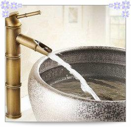 Free shipping hot and cold water bamboo bathroom basin faucet single cold basin faucet mixer single handle basin(China (Mainland))