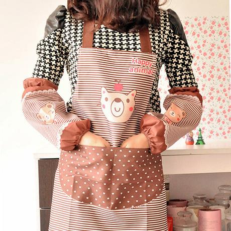 A10-4-09 cartoon bear kitchen cooking apron delantal cocina avental de cozinha long sleeve cuff waterproof aprons(China (Mainland))