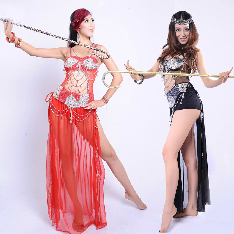Belly Dance Costumes Luxury Sexy belly dance Lady Indian Dress Practice/Performance Stagewear Bellydance Costume Sexy Bra Dress(China (Mainland))