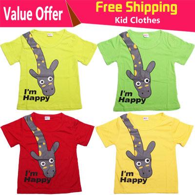 2015 New Hot t shirts cotton short sleeve children t shirts cute animal cartoon t shirt