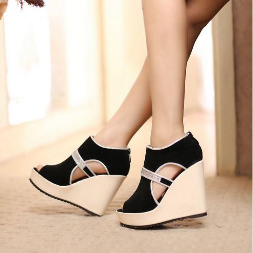 Fashion 2015 High Wedge Summer Slip On Sandals Sexy High Platform Gladiator Flip Flop Shining Sequined Nubuck Summer Heel Shoes(China (Mainland))