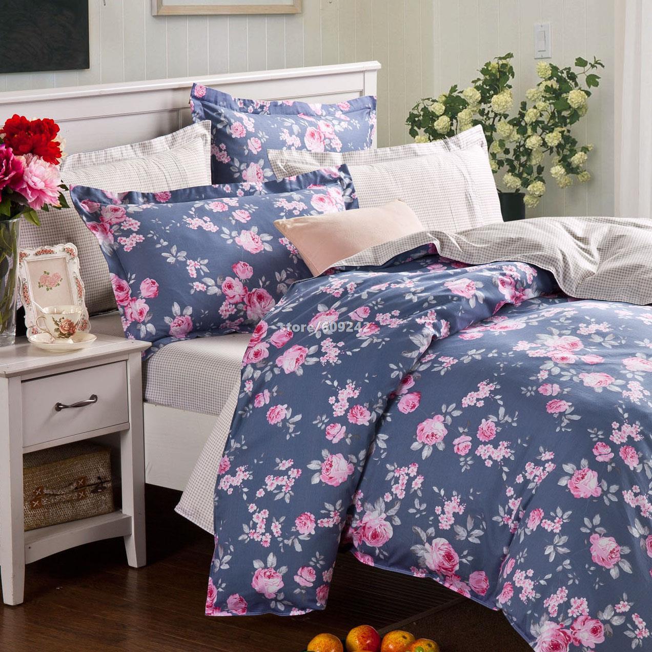 100% algodão impressão reativa jogo de cama de luxo no azul profundo / 4 peça um set / sets tampa do duvet / folha de cama set / roupa de cama / #45(China (Mainland))