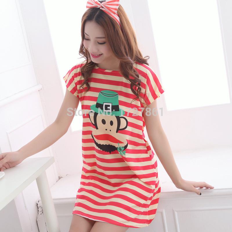 Summer Fashion Ladies Short Sleeved Cartoon Conjoined Pajamas For Women(China (Mainland))