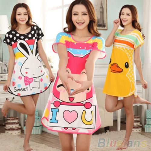 Great Cute Women's Cartoon Polka Dot Sleepwear Pajamas Short Sleeve Sleepshirt 2MY2 2PRO(China (Mainland))