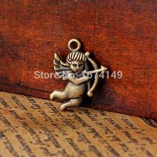 50pcs Antique bronze Mini Roman Cupid charm fit bracelet charms fit LOVE ireland christmas gifts16x22mm