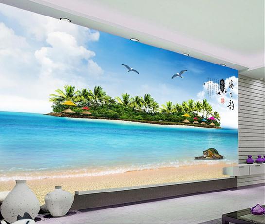 Buy wallpaper coconut grove beach turtle for Beach wall mural cheap