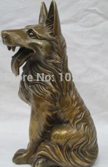"free shipping>>>>>>9.5""Chinese zodiac Feng shui Bronze geomancy wolf dog Shepherd statue(China (Mainland))"