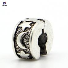 1pc Fashion Jewelry 925 Clips Locks Beads Alloy Charm European Star and Moon Stopper Bead Fit Pandora Bracelets & Bangles