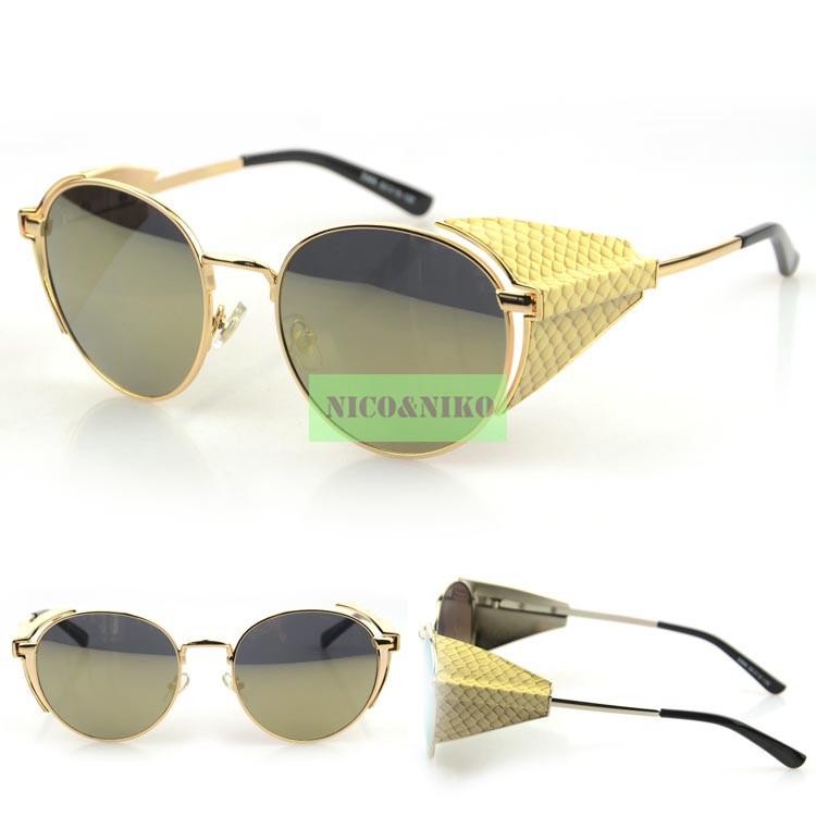 5 Colors Goggle Gothic SteamPunk Serpentine Leather Eyewear 2015 Vintage Fashion Summer Cool Sunglasses Women Men Brand Designer(China (Mainland))
