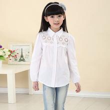 2015 New 5-16 Years Girls Cotton Shirts Spring & Autumn Children White & Pink Long Sleeve Blouse Brand Kids Brief Tops, HC330(China (Mainland))
