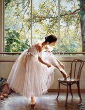 Artesanato arte pintura a óleo do retrato de bailarina bailarina No. 244(China (Mainland))