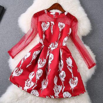 2015 лето новинка взлетно-посадочной полосы ну вечеринку сексуальные красные платья женщин свободного покроя платье чистой пряжи шить тонкий аннотация печать женщины одеваются