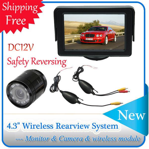 """4.3"""" TFT LCD Monitor + Wireless Car Rear View Backup Camera System Night Vision Waterproof Sunshade(China (Mainland))"""