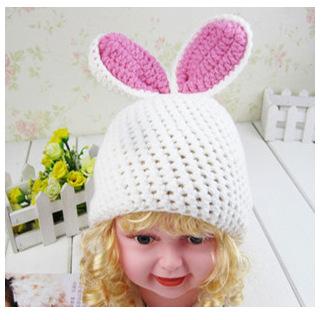 The new children's photography 100 days photographed Baby Hats baby cap handmade woolen cap big ear white rabbit helmet(China (Mainland))