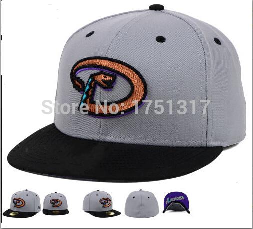Men's fitted sport team cap logo embroidered under visor AZ baseball hat in gray/black AD-11(China (Mainland))