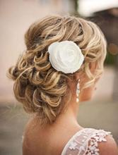 New Fashion Rose Flower Hair Clip Brooch Wedding Bridal Corsage Headwear Hair Flower Clip Pin Hairwear Accessories White
