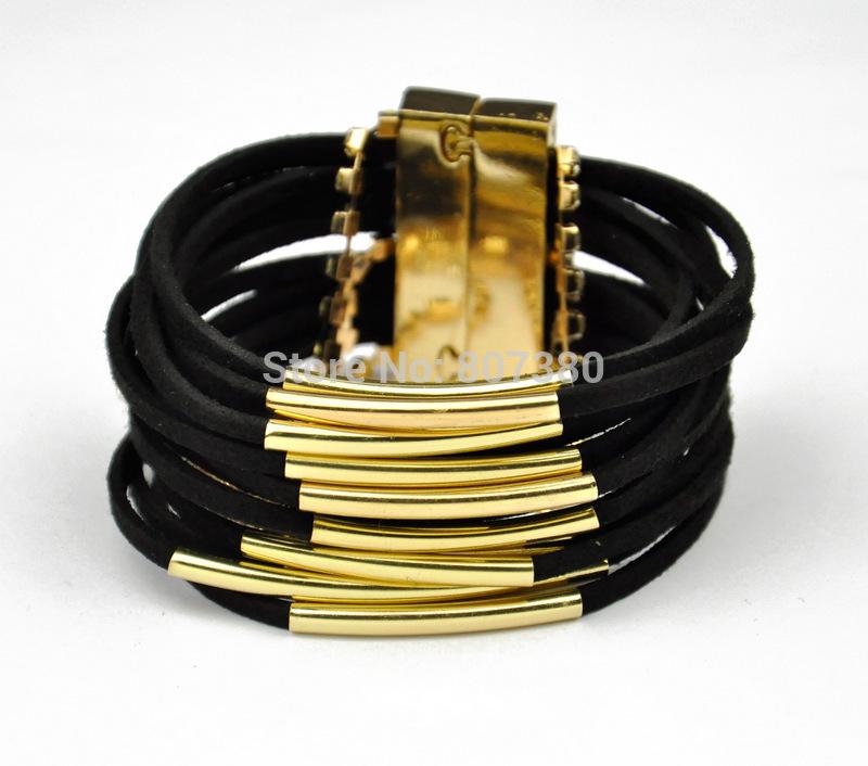 5pcs/lot Magnetic Clasp Velvet Gold Tube Bracelets Multi Layers Brazilian Bracelet Beach Jewelry(China (Mainland))