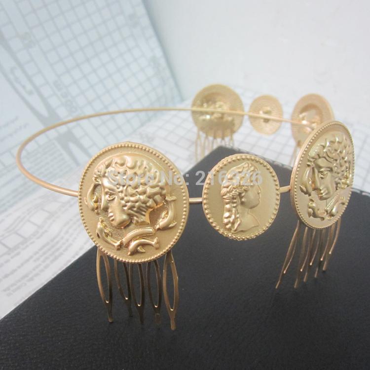 New Baroque metal human head jewelry Gold hair combs for women fashion punk hair jewelry 2015 bridal hair accessories headband(China (Mainland))
