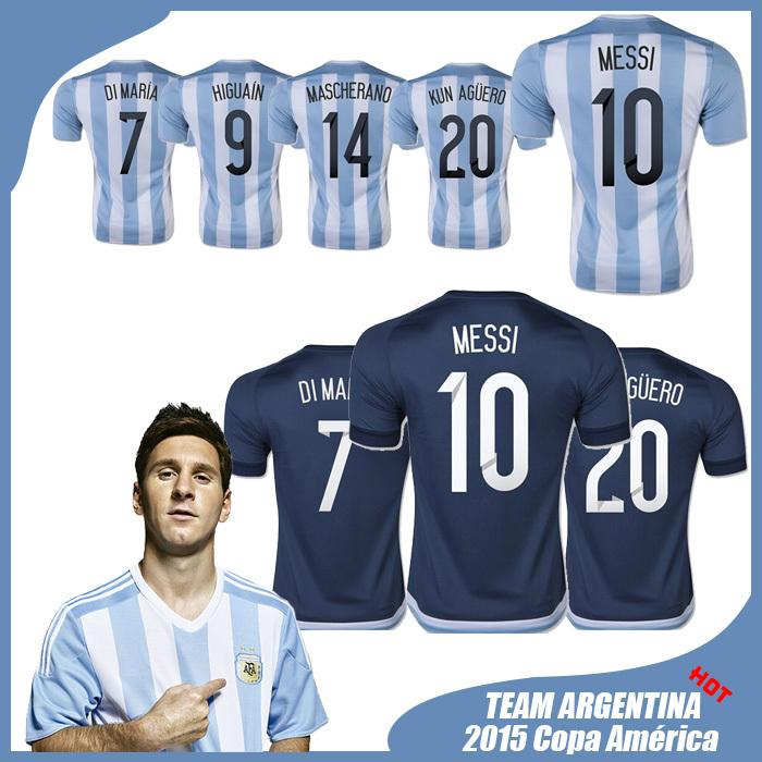 Free Custom Argentina Jersey 2015 Soccer Jerseys MESSI Argentina 2015 Shirt Home Away Football Jerseys(China (Mainland))