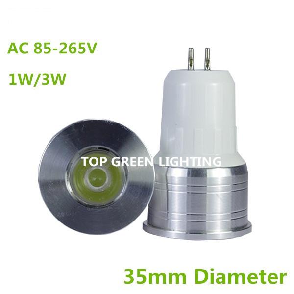 10PCS Diameter 35mm LED Spot Light Bulb GU5.3 Mini MR11 Light Bulb 3W 1W AC85-265V Small GU5.3 LED Lamp Bombillas MR11 LED 35mm(China (Mainland))