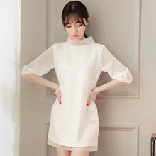 2015 Summer DressKorean Style Fashion Stand Collar Half Sleeve White Organza Chiffon Dresses False Two Stitching Women Dress(China (Mainland))