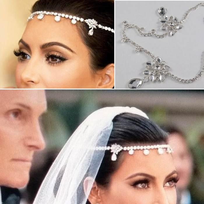 Czech Sparkly Crystal Women Forehead Headband Head Chain Headpiece Rhinestone Teardrop Tiara Vines Bridal Wedding Hair