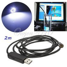 Hot Sale 2M 6LED 7MM USB Waterproof Borescope Endoscope Inspection Snake 300000 Pixels CMOS Tube Camera
