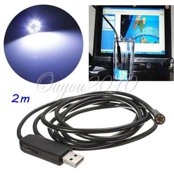 Hot Sale 2M 6LED 7MM USB Waterproof Borescope Endoscope Inspection Snake 300000 Pixels CMOS Tube Camera(China (Mainland))