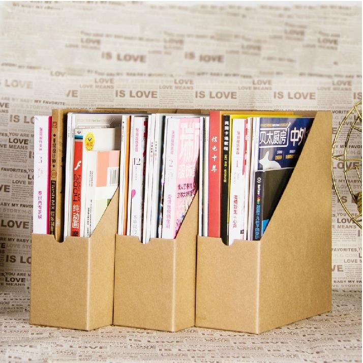 2015 new classic kraft paper office document rack storage box DIY paper storage Magazine Organizers 250*90*290mm(China (Mainland))