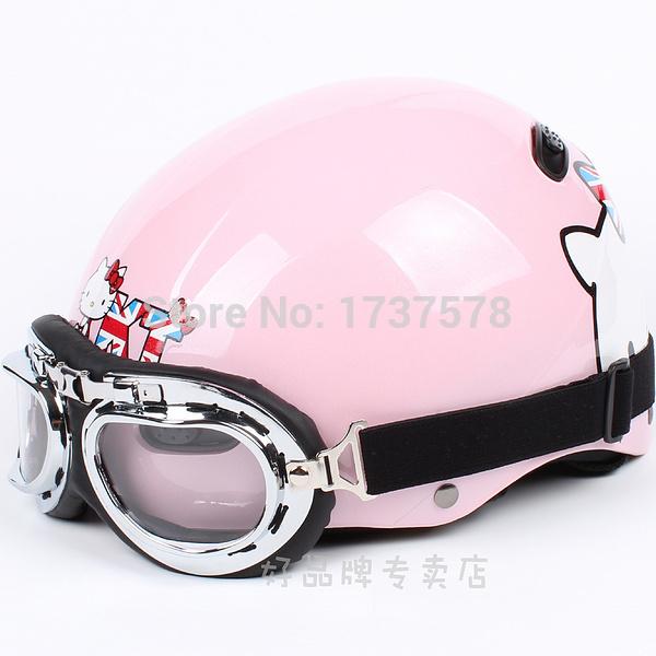 "D.03 Free Shipping Taiwan "" EVO "" ABS Half Helmet Half Face Motocross Motocycle "" UK Hello Kitty "" Bright Pink Helmet & Glasses(China (Mainland))"