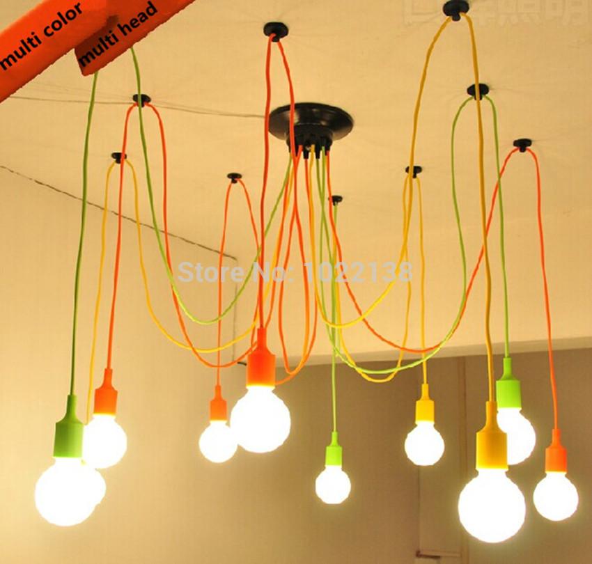 Modern Classic Pendant Lamp Colorful E27 Spider Light Bulb Lamp Holder Group Edison Adjustable Christmas Lighting Fixture(China (Mainland))