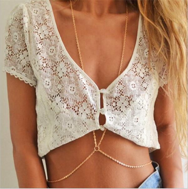 2015 New Arrival Hot Sale Body Gold Chain Bikini Sexy Body Chain Friends The Best Gift
