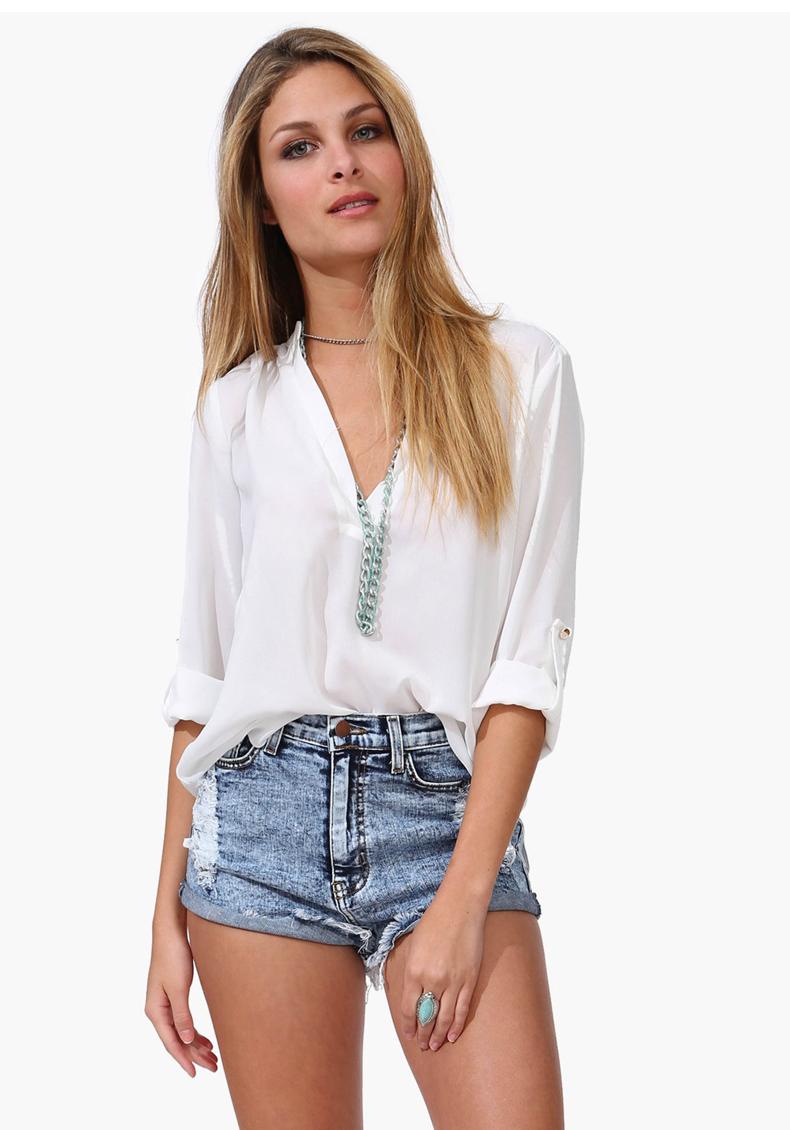 Verão 2015 de moda as mulheres Chiffon blusas mulheres grandes estaleiros branco blusa verde lapela Casual Chiffon manga comprida camisas mulheres encabeça(China (Mainland))