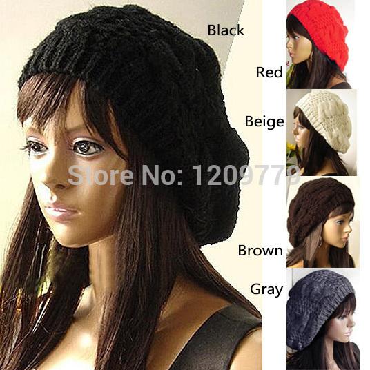 Free shippingWomen Lady Fashion 5 Colors Warm Winter Beret Braided Baggy Beanie Hat Ski Cap H6504 P(China (Mainland))