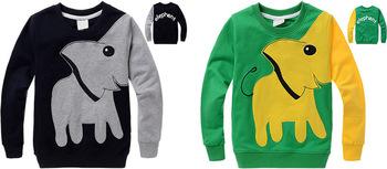 Хлопка с длинным рукавом для мальчиков рубашки тройников топ дети тенниска детей одежды одежда пуловер слон животных мультфильм Roupa Infantil