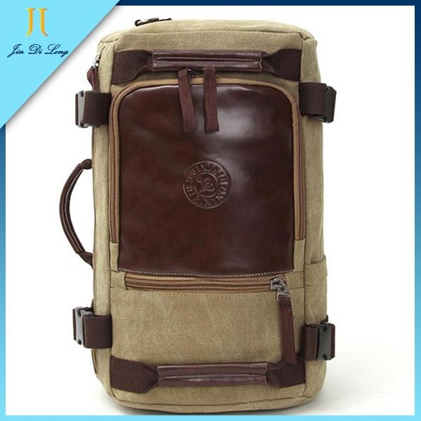2015 New Outdoor Design Canvas Leather Women men's Travel Bag Man Backpack Computer Bags Packsack Daypacks Rucksack Mochila(China (Mainland))